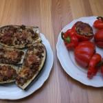 Fylld aubergin och paprika